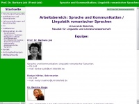 Prof. Dr. Barbara Job: Romanistik, Sprachwissenschaft, Medi&auml;vistik